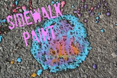 Super easy sidewalk paint - so much fun, and a great alternative when you're out of chalk.  Paint sidewalks, driveways, fences etc. (happy hooligans)