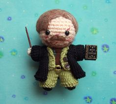 ****MADE TO ORDER***************  A very detailed Professor Remus Lupin Amigurumi, with a full suit and cloak created from 100% cotton yarn in