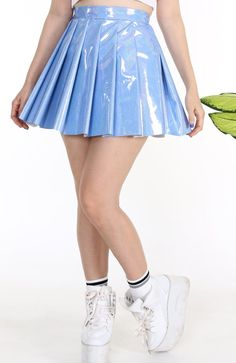 0c44e33fcb6 Made To Order - Blue Hologram Pleated Skirt by GFD
