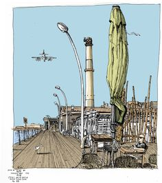 com il fou Tel Aviv port Pen And Wash, Coffee Places, Tel Aviv, Artist At Work, Illustration Art, Illustrations, Painting & Drawing, Statue, Drawings