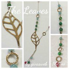 collana the leaves con foglie grande in bronzo e argento