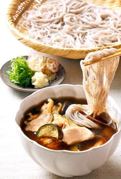 Enjoy soba noodles with piping hot dipping sauce : Kamo-soba Really interesting link too!