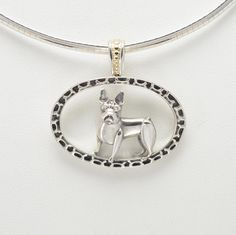 """Sterling Silver & 14Kt Gold French Bulldog Pendant w/ 16"""" Omega Chain by Donna Pizarro fr her Animal Whimsey Collection of Fine Dog Jewelry by DonnaPizarroDesigns on Etsy"""