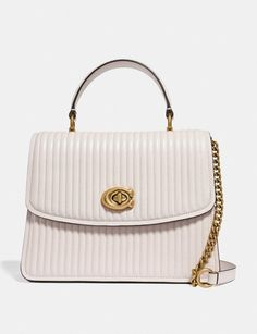 Coach Parker Top Handle With Quilting Chalk/Brass Women Bags Satchels & Carryalls Coach Purses, Coach Bags, Coach Handbags, Coach Leather Cleaner, Luxury Handbags, Quilts, Handle, Things To Sell, Women Bags