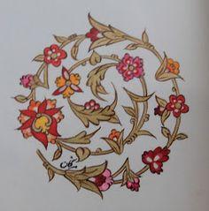 Persian Illuminations (Tazhib) artwork by Mojgan Lisar: Spirale Islamic Art Pattern, Arabic Pattern, Pattern Art, Motif Oriental, Turkish Pattern, Illumination Art, Persian Motifs, Arabic Calligraphy Art, Iranian Art