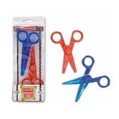 Cutting is a big thing for toddlers, and amazingly effective at killing time.  Love that these are safe, include both straight and zig-zag sets and can be used with either hand (we have a lefty).  These are a favorite of ours. $5
