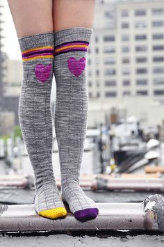 """Ravelry: """"Roller Girl"""" Heart Knee Patch Striped Socks pattern by Lauren Riker"""