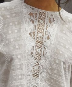 crochet ivory white blouse / top with lace inset    fashion style - bohemian inspiration boho chic model look