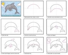 How to draw a Dolphin. PDF tutorial available. #dolphin #howtodraw #artprojectsforkids