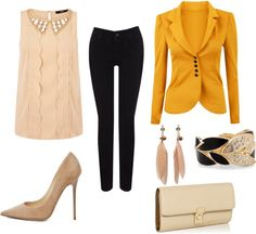 """""""Nude with hint of yellow"""" by sixthlens on Polyvore"""
