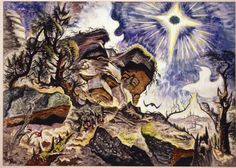 "Charles Burchfield, ""Sun and Rocks,"" 1918–50."