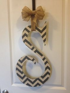 Grey Chevron Wooden Letter Door Hanger
