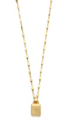 Eddie Borgo Padlock Pendant Necklace, 18k gold plate