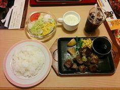 サイコロステーキ わさびポン酢 洋食セット