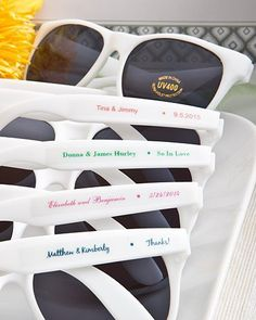 If your wedding guests are too cool for school, then gift them with personalized sunglasses at your wedding.