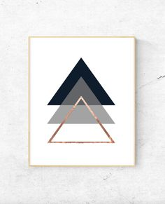 Geometric triangles rose gold wall art