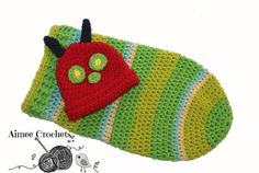Crochet Caterpillar Cocoon and Hat Photoprop Knit by AimeeCrochets