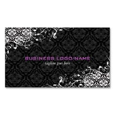 Elegant Black and White  Vintage Floral Damasks Business Card Templates. This is a fully customizable business card and available on several paper types for your needs. You can upload your own image or use the image as is. Just click this template to get started!