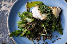 Cod with lentils, rocket and salsa verde