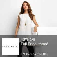 The Limited Coupon - 40% Off	40% Off   Full Price Items! *Exclusions Apply. Valid 8.29 – 8.31  Brought to you by http://www.imin.com and http://www.imin.com/store-coupons/the-limited