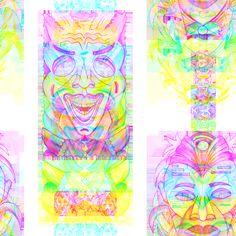 RAINBOW POP ART TIKI PINK YELLOW fabric by paysmage on Spoonflower - custom fabric