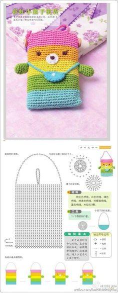 Knitting charts cute crochet patterns 50 ideas for 2019 Crochet Phone Cover, Crochet Pouch, Crochet Purses, Kawaii Crochet, Cute Crochet, Easy Crochet Projects, Crochet Crafts, Crochet World, Häkelanleitung Baby