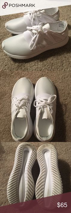 White Adidas Tubulars Womens Size 7 Barely worn all white Adidas Tubulars! Super comfortable, no major wear or tear. In really great condition. Sole is a tad worn, but only dirty not damaged Adidas Shoes Sneakers
