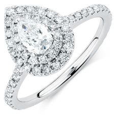 Krivox 1.50 ct Princess /& Round Cut Simulated Diamond 14k White Gold Finish Solitaire Halo Engagement Ring for Womens