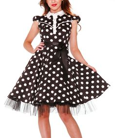 Look at this HEARTS & ROSES LONDON Black & White Polka Dot Cap-Sleeve Dress - Women & Plus on #zulily today!