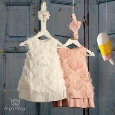 Βαπτιστικό Φόρεμα Vionet | Angel Wings 074 Girls Dresses, Flower Girl Dresses, Baby Christening, Angel Wings, Baby Sewing, Dusty Pink, Angeles, Girl Outfits, Wedding Dresses