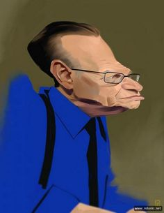 Larry King Cartoon Caricatures from Photo