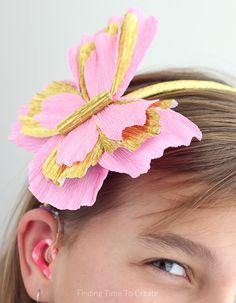 Italian Crepe Paper butterfly headband