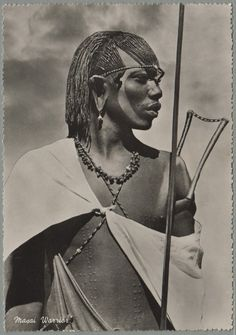Maasai Warrior Kenya 1955 NEGRITOS Negro black beauty beautiful afro