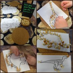 "Push pins and dinosaur outlines - from Rachel ("",)"