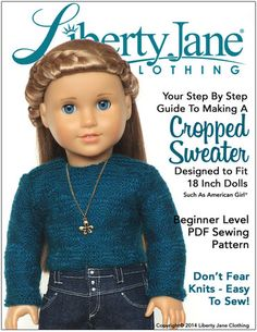 Liberty Jane Cropped Sweater 18 Inch Doll Clothes Pattern | Pixie Faire