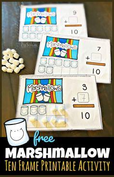 Ten Frame Activities, Summer Preschool Activities, Kindergarten Math Activities, Kindergarten Age, Toddler Preschool, Math Resources, Math Games, Preschool Camping Theme, Preschool Rooms