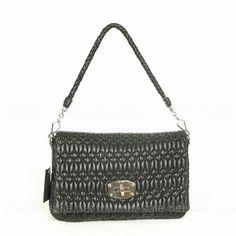 Miu Miu Black Lambskin Shoulder Bags
