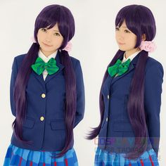 28.87$  Buy here - http://aie8n.worlditems.win/all/product.php?id=32572401570 - Love Live! Tojo Nozomi 100cm Long Straight Purple Black Mixed Party Hair Cosplay Wigs Women Halloween Hair