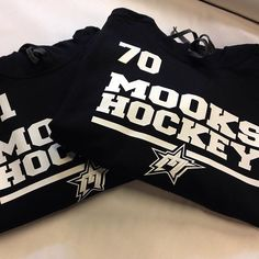 Mooks Hockey hoodies in progress here this morning. Check out the detail on that vinyl transfer. Each top personalized with squad number. #wearables #hoodies #sweaters #clothing #vinyl #hockey #ajax #toronto #ontario #canada