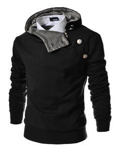 dacad8ba370 TheLees Mens casual luxury buckle hoodie slim sweatshirt s Black Large(US  Medium)