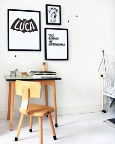 Vintage desk in a kids room Bedroom Themes, Kids Bedroom, Bedroom Ideas, Superhero Room, Kid Desk, Kids Room Design, Fashion Room, Kid Spaces, Boy Room