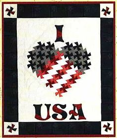 I Love USA Twister Quilt Pattern by Raggedy Ruth Designs