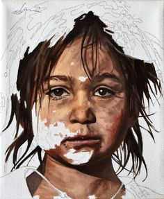 Daniel Brici, figurative painting, portrait of child