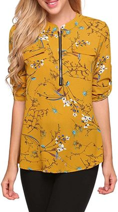 cebc6a71be4e7a ANGVNS Women Half Sleeve V Neck Casual Printed Chiffon Blouse, Yellow 1, L  at