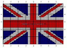 union jack chart. Must make one ... tricky bit is to decide if I´ll use knitting, tapestry or cross stitch.