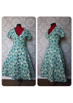 Vintage 1950's Pat Hartly Cream and Turquoise by pursuingandie, $135.00