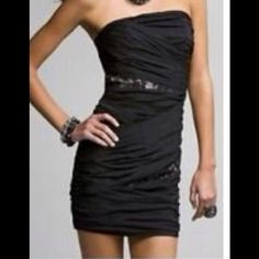 Express Strapless Dress w/ Lace Insets Size 0. Express Black Ruched Strapless Dress with Lace Insets. Size 0. Gently worn once and in excellent condition! Express Dresses Strapless