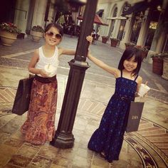 Little fashionistas in maxi dress and skirt. Love it. #kidsfashion #tinystyle #kidstreetstyle