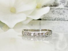 April Wedding SaleArt Deco Platinum by LadyRoseVintageJewel, $895.00