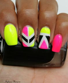 Pretty Neon Nail Art Designs for Your Inspiration Neon Nail Art, Neon Nail Polish, Crazy Nail Art, Cute Nail Art, Cute Nails, Pretty Nails, Fabulous Nails, Gorgeous Nails, Gel Nagel Design